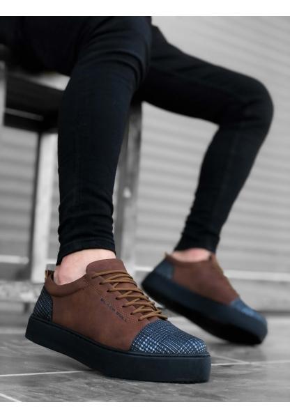 BA0104 Bağcıklı Taba Ekose Süet Siyah Taban Spor Klasik Erkek Ayakkabı