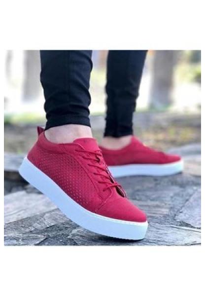 BA0108 Bağcıklı Kırmızı Delikli Yazlık Spor Erkek Ayakkabısı
