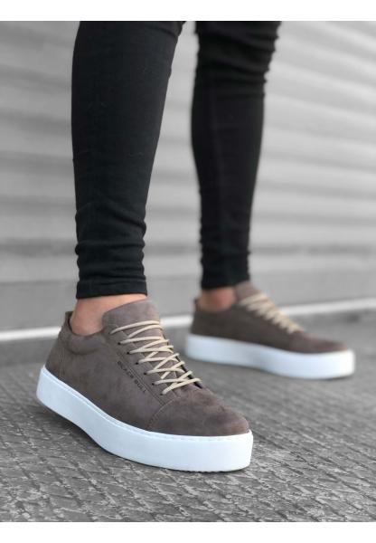 BA0104 Bağcıklı Vizon Süet Beyaz Taban Spor Klasik Erkek Ayakkabı