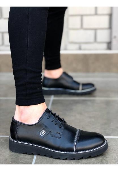 BA0021 Bağcıklı Klasik Siyah Erkek Ayakkabısı
