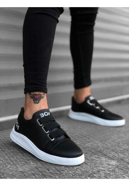 BA0179 3 Bantlı Siyah Yüksek Taban Erkek Ayakkabısı