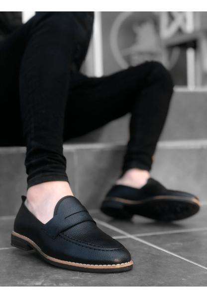 BA0009 Corcik Siyah Cilt Klasik Erkek Ayakkabısı