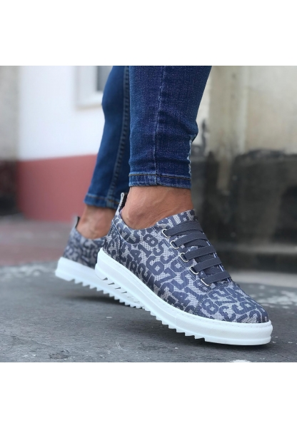 BA0111 Gri Rakamlı Lastikli Rahat Beyaz Taban Sneakers Erkek Spor Ayakkabı