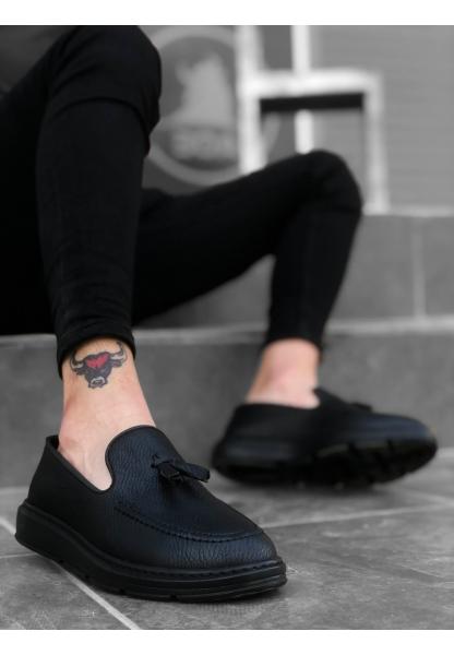 BA0005 Bağcıksız Yüksek Taban Mat Siyah Klasik Püsküllü Corcik Erkek Ayakkabı