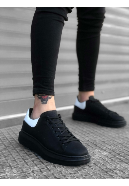 BA0301 Bağcıklı Kalın Taban Siyah Casual Erkek Ayakkabı