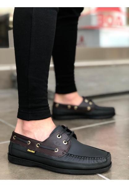 BA0125 Rahat Taban İçi Dışı Hakiki Deri Siyah Bordo  Klasik Erkek Ayakkabı