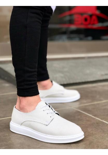 BA0003 Bağcıklı Klasik Spor Keten Gri Beyaz Yüksek Taban Casual Erkek Ayakkabı