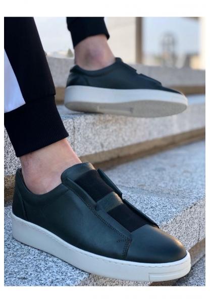 BA0097 İçi Dışı Hakiki Deri Rahat Taban Haki Yeşil Sneakers Casual Erkek Ayakkabı