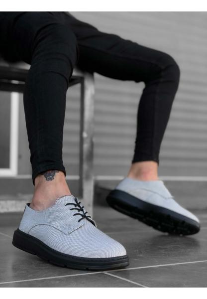 BA0003 Bağcıklı Klasik Spor Gri Renk Siyah Taban Keten Yüksek Taban Casual Erkek Ayakkabı