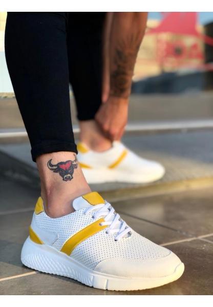 BA0139 İçi Dışı Hakiki Deri Beyaz Sarı Sneakers Erkek Ayakkabı