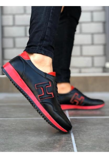 BA0091 Bağcıklı Sneakers Siyah Kırmızı Erkek Casual Spor Ayakkabı