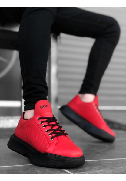 BA0162 Bağcıklı Erkek Model Dikişli Yüksek Taban Kırmızı Spor Ayakkabı