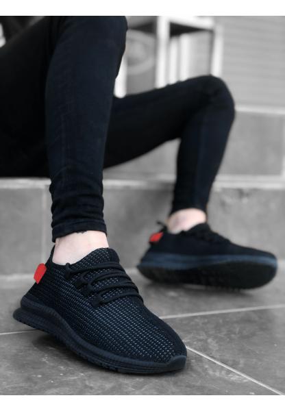 BA0167 Kalın Taban Tarz Sneakers Siyah Kırmızı Erkek Spor Ayakkabısı