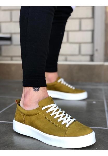 BA0104 Bağcıklı Nubuk Yeşil Beyaz Taban Süet Spor Klasik Erkek Ayakkabı
