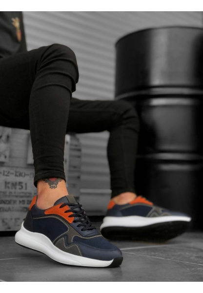 BA0174 Yüksek Taban Casual Bağcıklı Lacivert Sneakers Erkek Ayakkabı