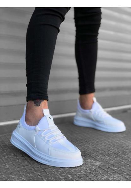 BA0176 Yüksek Taban Casual Bağcıklı Beyaz Sneakers Erkek Ayakkabı