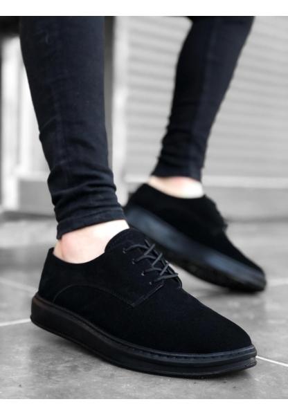BA0003 Bağcıklı Süet Klasik Siyah Yüksek Taban Casual Erkek Ayakkabı