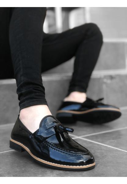 BA0009 Rugan Püsküllü Corcik Siyah Klasik Erkek Ayakkabısı