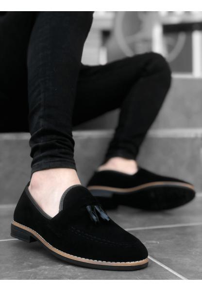 BA0009 Süet Püsküllü Corcik Siyah Klasik Erkek Ayakkabısı