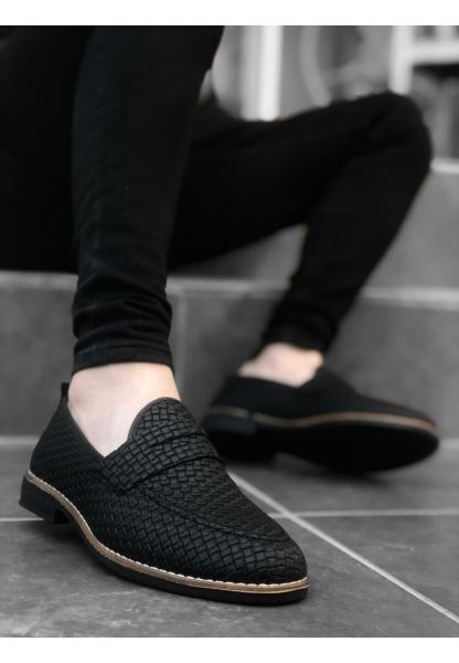 BA0009 Corcik Siyah Klasik Erkek Ayakkabısı
