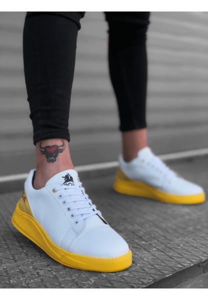 BA0171 Bağcıklı Beyaz Sarı Yüksek Taban Erkek Ayakkabısı