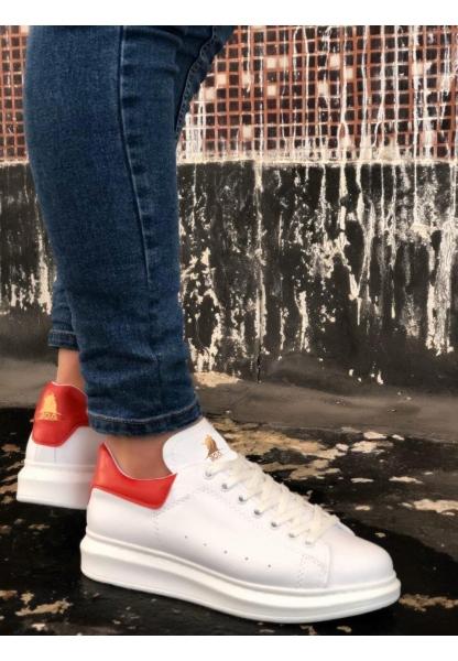 BA0501 Bağcıklı Beyaz Kırmızı Rahat Yüksek Taban Unisex Ayakkabı