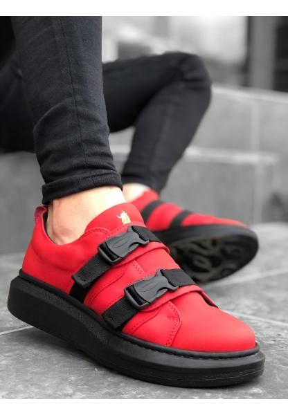 BA0152 BOA Kalın Yüksek Taban Kırmızı Kemerli Erkek Spor Ayakkabı