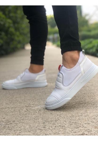 BA0202 Bağcıksız Rahat Kalın Taban Beyaz Erkek Spor Ayakkabı