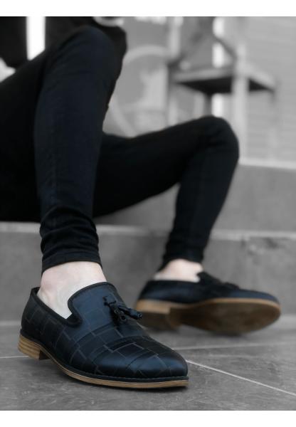 BA0116 BOA Klasik Püsküllü Corcik Siyah Desenli Erkek Ayakkabı