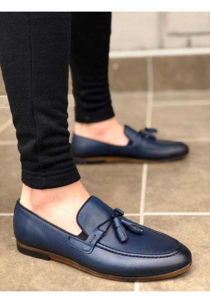 BA0113 İçi Dışı Hakiki Deri Lacivert Püsküllü Corcik Klasik Erkek Ayakkabı