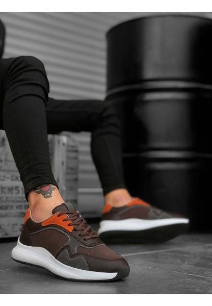 BA0174 Yüksek Taban Casual Bağcıklı Kahverengi Sneakers Erkek Ayakkabı
