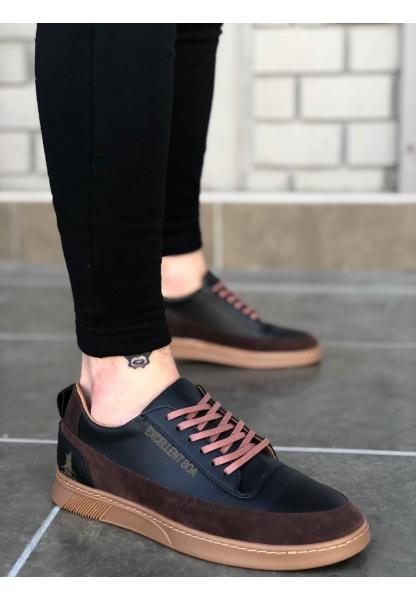 BA0041 Excellent Bağcıklı Siyah Taba Sneakers Casual Erkek Spor Ayakkabı