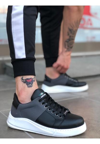 BA0123 Kalın Taban Bağcıklı Sneakers Tarz Gri Siyah Beyaz Taban Erkek Ayakkabı