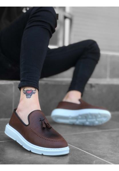 BA0005 Bağcıksız Yüksek Taban Taba Beyaz Klasik Püsküllü Corcik Erkek Ayakkabı