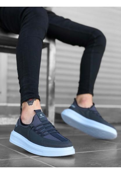 BA0176 Yüksek Taban Casual Bağcıklı Gri Sneakers Erkek Ayakkabı
