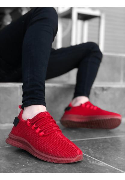 BA0167 Kalın Taban Tarz Sneakers Kırmızı Erkek Spor Ayakkabısı