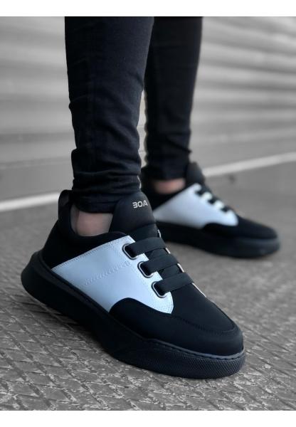 BA0160 Bantlı Erkek Yüksek Taban Siyah Beyaz Siyah Taban Spor Ayakkabı