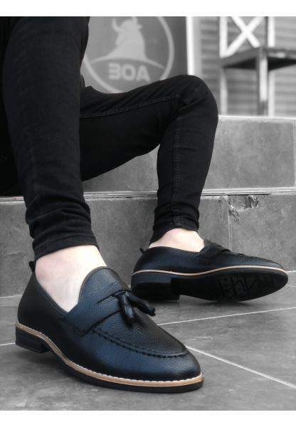 BA0009 Püsküllü Corcik Siyah Cilt Klasik Erkek Ayakkabısı