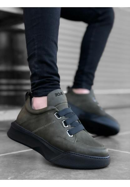BA0160 Bantlı Erkek Yüksek Taban Haki Spor Ayakkabı