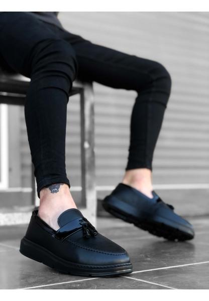 BA0005 Bağcıksız Yüksek Taban Klasik Siyah Parlak Kuşaklı Püsküllü Erkek Ayakkabı
