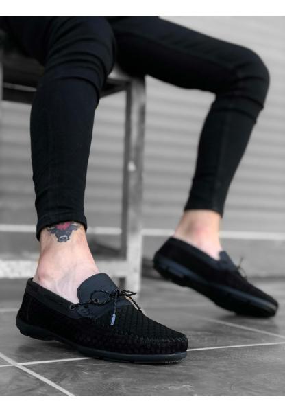 BA0178 İçi Dışı Hakiki Deri Modelli Siyah İnce Bağcık Püsküllü Loefer Klasik Erkek Ayakkabı