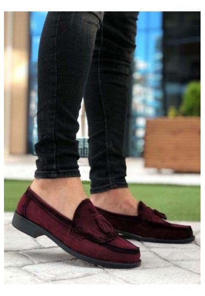 BA0062 Püsküllü Corcik Süet Bordo Klasik Erkek Kadın Unisex Ayakkabısı