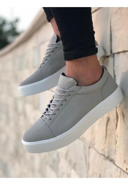 BA0104 Bağcıklı Nubuk Gri Beyaz Taban Spor Klasik Erkek Ayakkabı