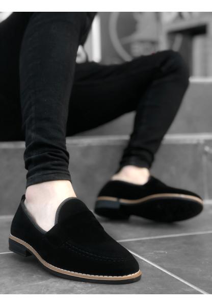 BA0009 Süet Corcik Siyah Klasik Erkek Ayakkabısı