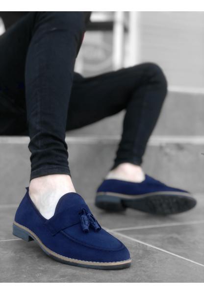 BA0009 BOA Klasik Corcik Süet Püsküllü Lacivert Erkek Ayakkabı