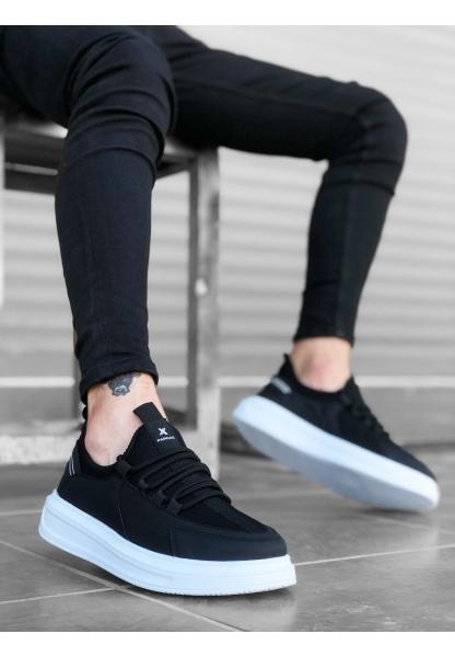 BA0176 Yüksek Taban Casual Bağcıklı Siyah Sneakers Erkek Ayakkabı