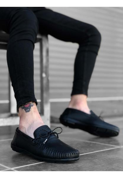 BA0178 İçi Dışı Hakiki Deri Siyah İnce Bağcık Püsküllü Loefer Klasik Erkek Ayakkabı