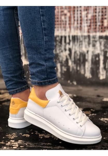 BA0501 Bağcıklı Beyaz Sarı Rahat Yüksek Taban Unisex Ayakkabı