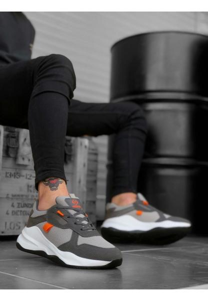 BA0175 Yüksek Taban Casual Bağcıklı Gri Sneakers Erkek Ayakkabı