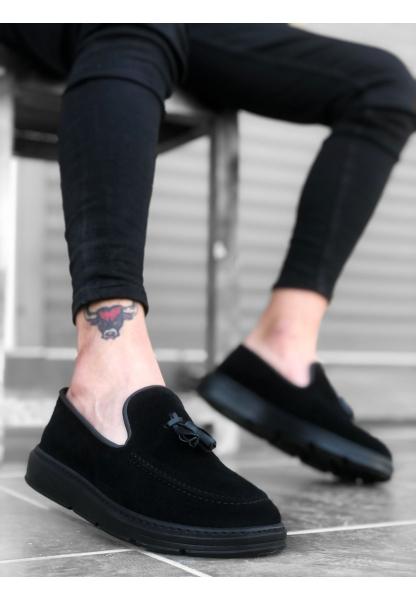 BA0005 Bağcıksız Yüksek Taban Klasik Süet Siyah Siyah Taban Püsküllü Erkek Ayakkabı
